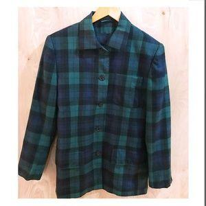 Vintage Burberry Green/Blue Plaid Jacket Blazer 8